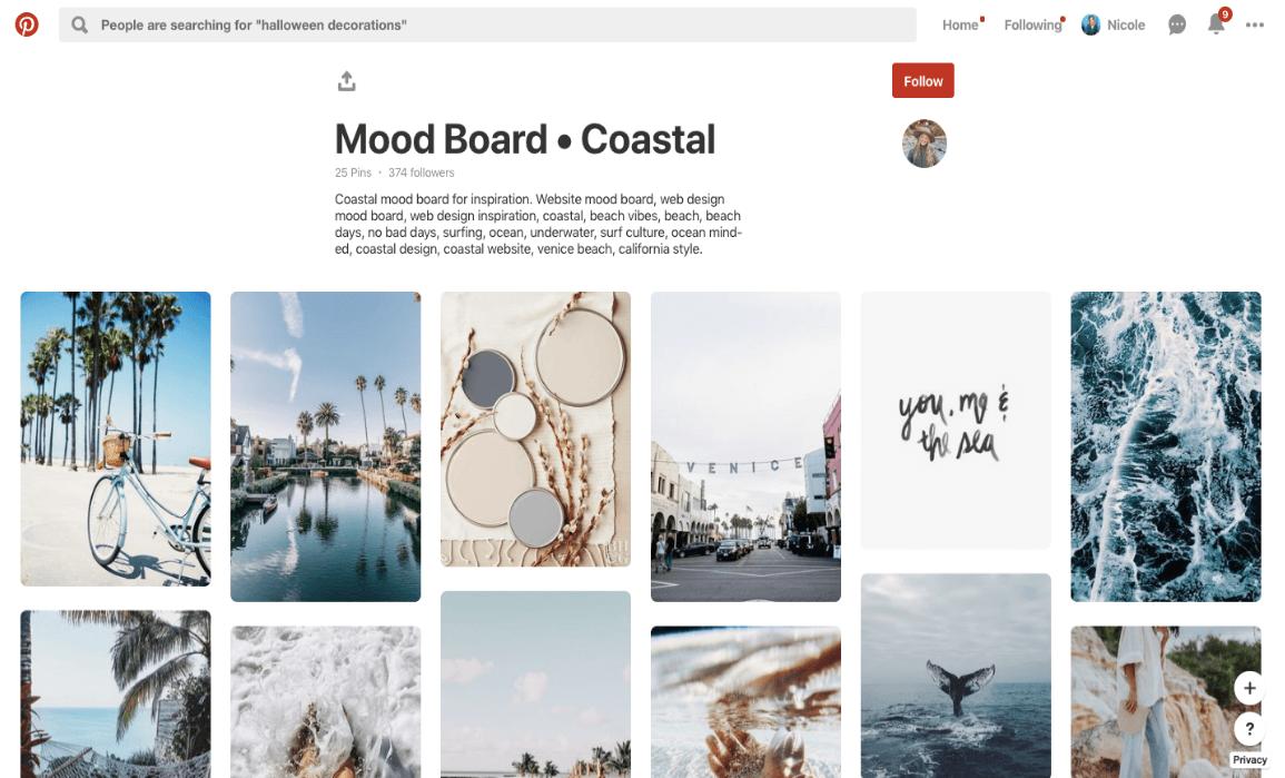 Créer une esthétique Instagram: Pinterest Mood Board