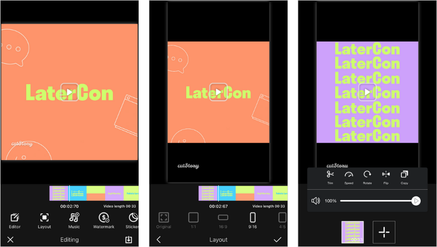 Applications pour Instagram Stories: CutStory