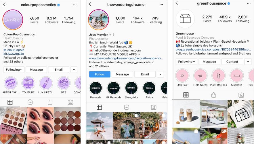 histoires Instagram faits saillants couvre la cohérence