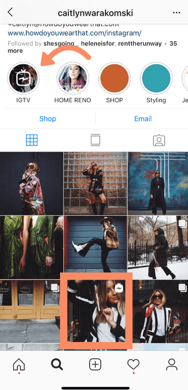 Augmenter l'engagement Instagram: aperçu IGTV: dans l'exemple de flux