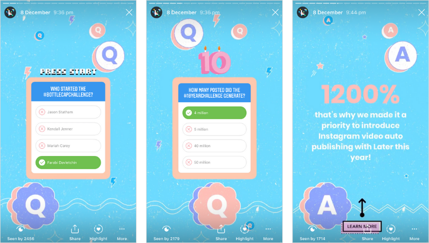 Augmenter l'engagement Instagram: autocollant de quiz